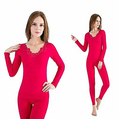 OYBY Women's Lace Stretch Seamless Thermal Underwear Set rose red