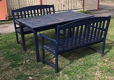 Garden Table & 2 Bench Seats,made Of Wood,