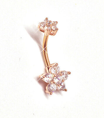 Belly Bars ROSE GOLD Crystal Clear CZ Flower Navel Bar Ring 316L Surgical Steel