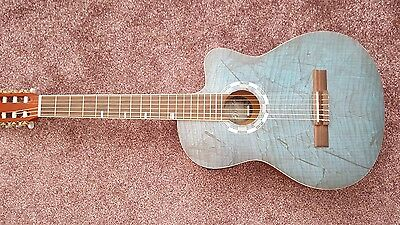 Lindo Picasso Blue Electro-Acoustic 960CEQ Classical Guitar Spruce Top