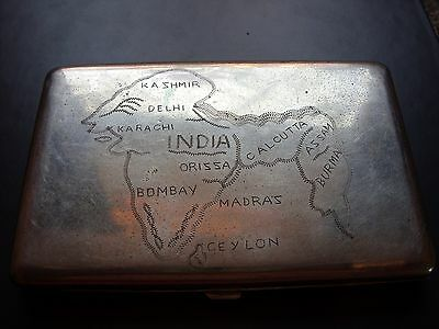 Vintage Cigarette Case Showing Etched Map Of India And Surrounding Areas