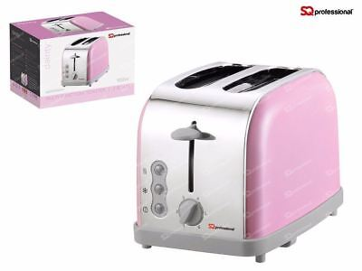 Legacy 900W Toaster with Reheat, Defrost and Cancel, Stainless Steel - Pink