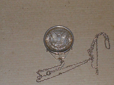 Silver 1888 American Morgan One dollar Coin Mounted Necklace  S/Chain 34g