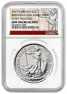 2017 Britain 1 oz Silver Britannia 20th Trident Privy £2 NGC GEM UNC ER SKU46488