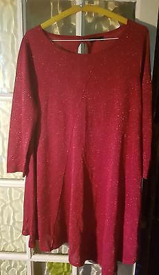 Next Maternity Glitter Red Thin Knit Jumper Size 16 Excellent Condition