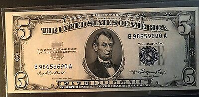 Very NICE 1953 Five Dollar $5 Silver Certificate Blue Seal Note !!