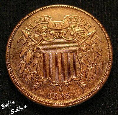 1865 Two Cent Piece <> UNCIRCULATED Brown