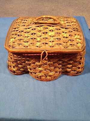 """Antique Sewing Basket Woven Straw Wood Base Satin Tufted Lining 9.1/2"""" 6"""" By 5"""""""
