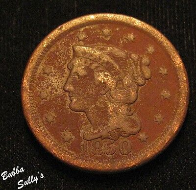 1850 Braided Hair Large Cent <> VG to F Details
