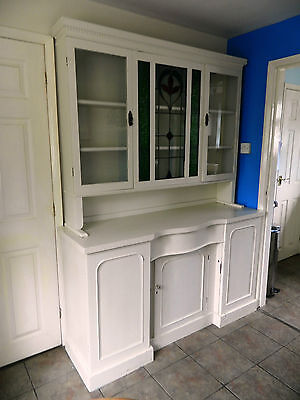 Beautiful Victorian Art Nouveau Antique Dresser Sideboard Cream Stained Glass