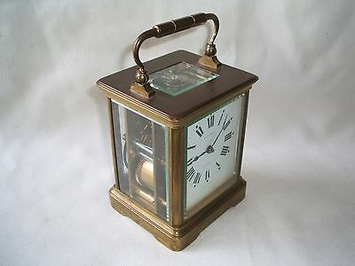 Good Antique French 8 Days Striking Brass Carriage Clock