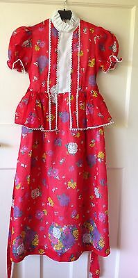 David rome vintage girls dress Age 6-7 Years Red Floral Peplum Goodwood 1970s