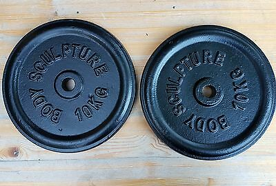 2x 10kg metal gym barbell dumbell weights