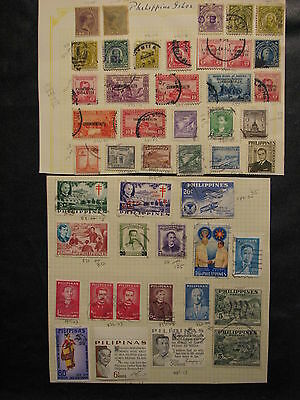 Phillipines  lot of 46 stamps - most older issues, hinged on paper, used,