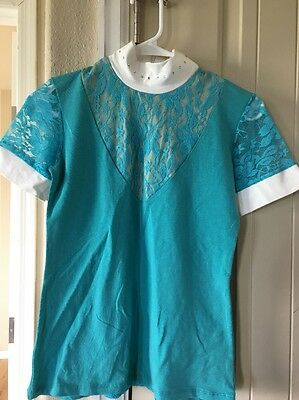 Cavalliera Lace Teal/Turquoise Blue Short Sleeve w/ Crystal Collar Show Shirt