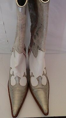 PARA RAIO Cowboy Boots Women's Sz 8 Medium Leather Made in Brazil White