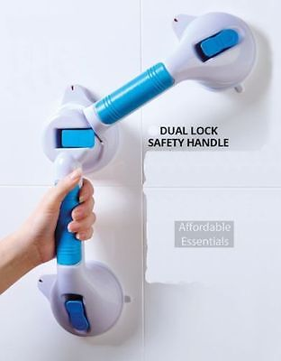 DUAL LOCK SAFETY HANDLE Mobilty Aid Bath Shower Wall Grip Rail Suction Cup