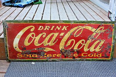 Vintage Original 1920's Drink COCA COLA Tin Sign Soda Pop Advertising Sign