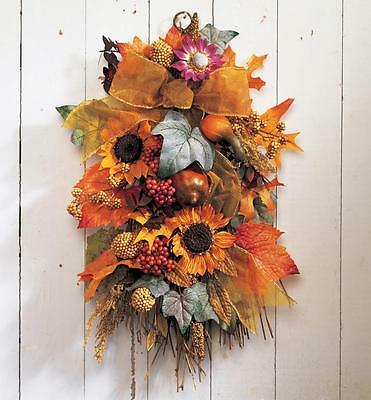 Harvest Sunflower Floral Wall Swag with Rope Hanger