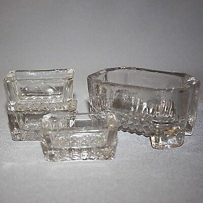 Antique Vintage MASTER SALT CELLAR & 3 SALTS Dip HEAVY CLEAR GLASS