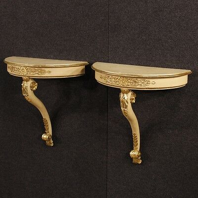 Pair of console furniture demi lune shelves lacquered tables antique style 900