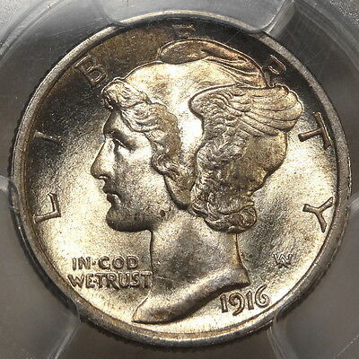 1916 Mercury Dime, Choice Uncirculated PCGS MS-64FB, Bright BU Coin #3