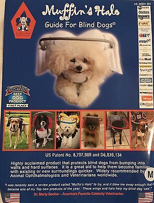 NEW: Muffins Halo Guide For Blind Dogs White Angel Wings M MED