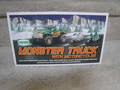 """MIB 2007 Hess Monster Truck With Motorcycles Battery Operated """"WOW"""""""