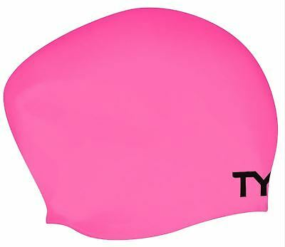 Tyr Long Hair Wrinkle Free Silicone Cap- Swim hats- Pink