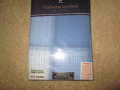 Catherine Lansfield Blue Double Duvet Set Brand New In Pack