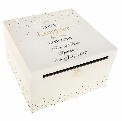 Personalised Love Laughter Wedding Card Collection Box Gift  Letters Cards Post