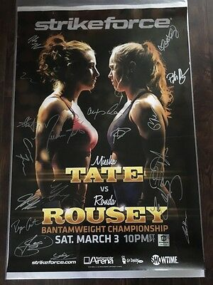 *Damaged* Strikeforce Tate vs Rousey Autographed Event Poster, RARE, Not Mint