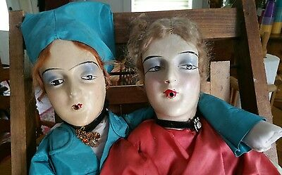 Two (2) Rare Antique 1920's France Smoking Boudoir Bed Doll Long Cloth Body