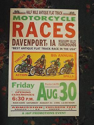Vintage Motorcycle Races Poster Flat Track Davenport IA