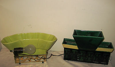 "Two TV Lamps w/ Planters by ""Miramar of California."" Vintage MCM '50s Mood Light"