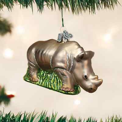 RHINOCEROS glass Ornament Old World Christmas NEW IN BOX