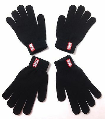 2-pair YOUTH SIZE Boy/Girl/Kids MARVEL COMICS KNIT GLOVES Winter Black&Red NEW