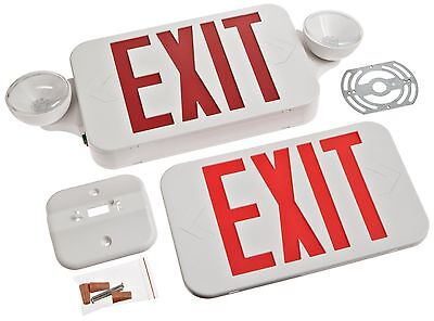 All LED Standard Type Decorative White Housing Red Exit Sign & Emergency Ligh...