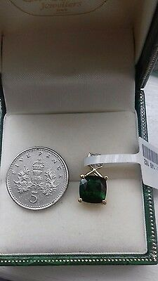9ct gold russian diopside and diamond pendant