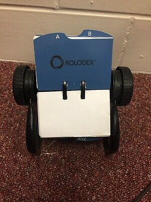 Rolodex Card File, Classic Open Rotary File With Cards