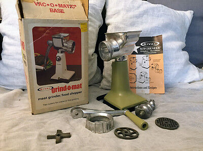 Vintage Rival Model 303 Grind-O-Matic Counter Suction Cup Meat Grinder Avocado
