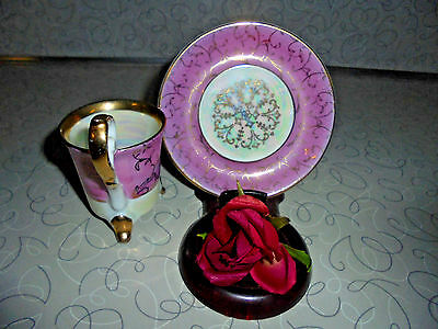 """UNIQUE """"Royal Crown"""" Dk PINK w/Iridescence """"SCROLL"""" Pattern Tea Cup/ Saucer Set"""