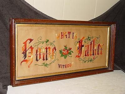 Antique Victorian Punch Paper Motto Sampler Framed What Is Home Without Father