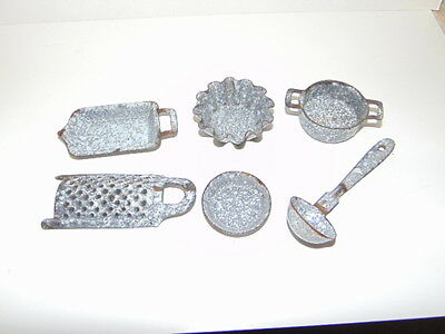 early lot of graniteware dollhouse accessory