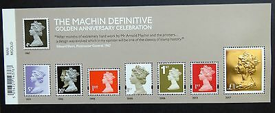 2017 Machin 50 Mini Sheet With The £1 Gold Foil Stamp Mnh