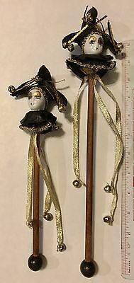 2 Hand Made Ceramic Jester Head Staffs With Ribbons And Bells