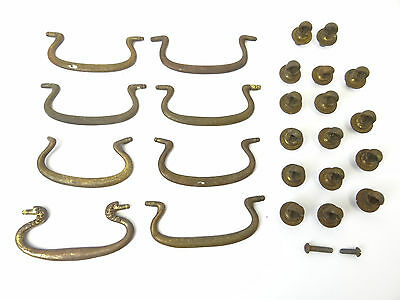 Antique Lot 8 Old Brass Metal Victorian Dresser Drawer Pulls Set Handles Parts