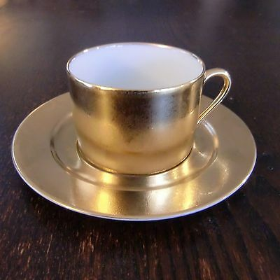 Philippe Deshoulieres Carat Flat Cup & Saucer Gold White Limoges France VGC