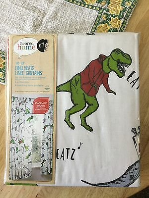 """Kids dinosaur curtains tab top w66"""" x l54"""" fully lined. Brand new"""
