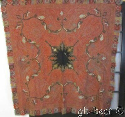 MUSEUM FIND Antique Paisley Shawl SIGNED hand sewn Exiquisite work